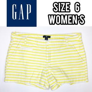 Gap white/yellow striped shorts
